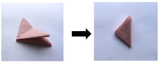Das Ganze umdrehen und auf der anderen Seite so wiederholen, dass am Ende ein noch kleineres Dreieck entsteht.